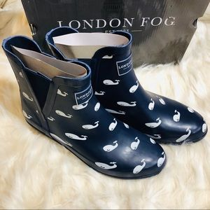 New London Fog whale rain boots